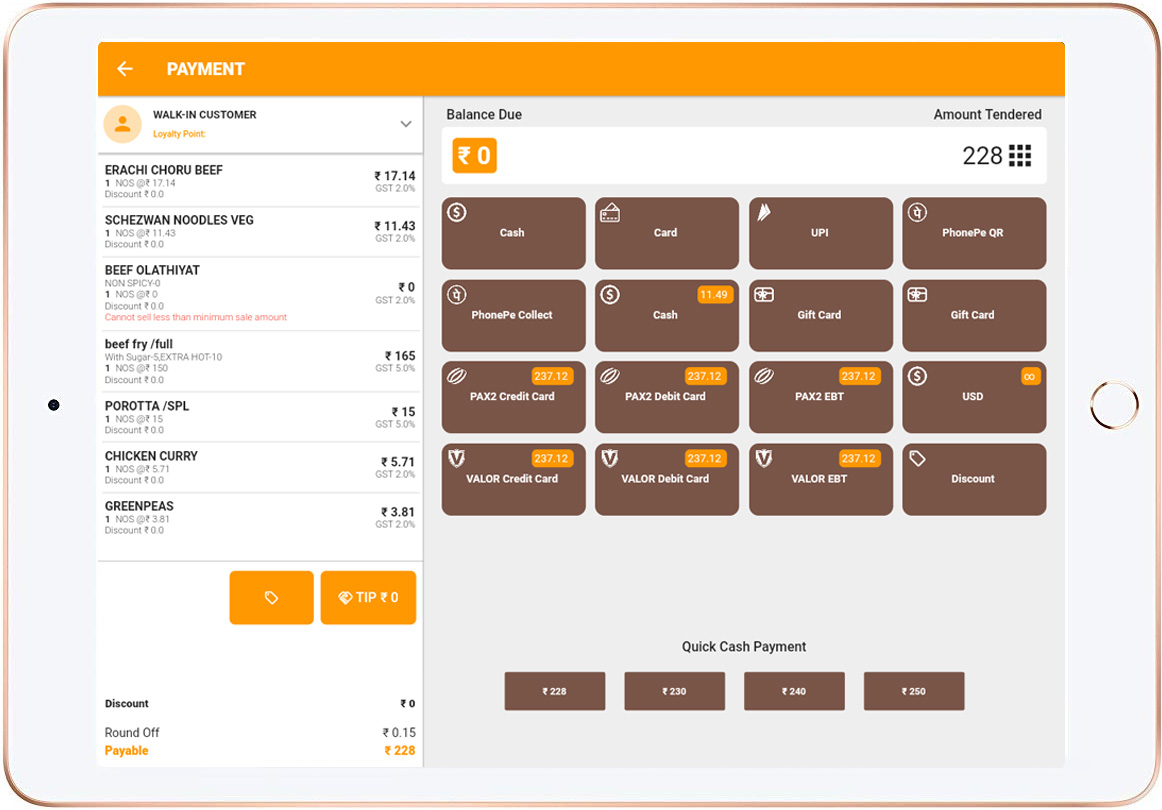 lithos pos ipad payment window